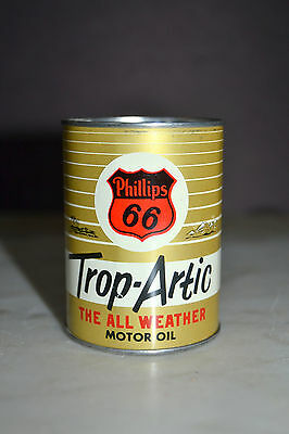 """Phillips 66 TROP-ARTIC MOTOR OIL Tin Can Coin Bank 2 3/4"""" H 2"""" D Gasoline #9131"""