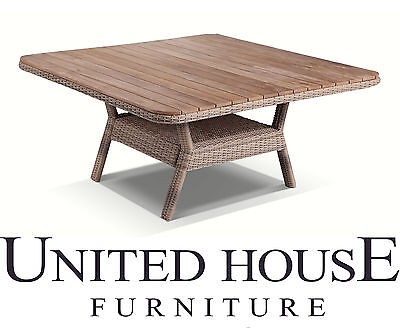 Outdoor Wicker 1.5m Square Teak Top Dining Table Rattan Cane Garden Furniture