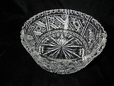"Beautiful Cut Glass Bowl - 8 1/8"" wide - Heavy thick glass!!"
