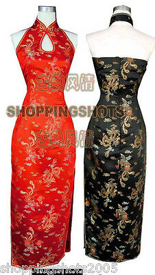 Dragon and Phoenix backless qipao chinese dress cheongsam gown 510308 size 30-40