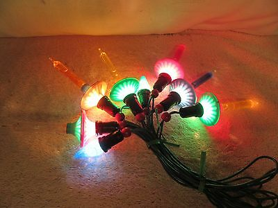 Vintage String of 8 NOMA C6 Christmas Tree Bubble Lights w/Red Beads