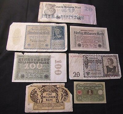 Lot of 7 Germany Marks Notes - 1920 1, 1922 10,000, 1923 100,000,000, 1923