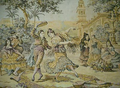 Vintage framed European Tapestry Large 140 cm X 53 cm Hamptons french style