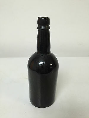 Antique Black Glass Hand Blown Bottle