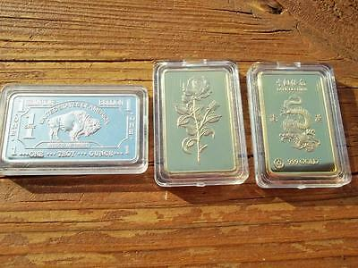 3 Three Mint Clad Art Bars Rose, Dragon & Buffalo! 24K Gold & Fine German Silver