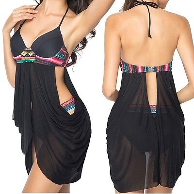 Women Push Up Padded Bra Bandage Bikini Set Swimsuit Cover up Swimwear Bathing