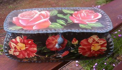 Vintage Retro Crochet edged Card Hankie,jewellery,craft sewing box.Floral images