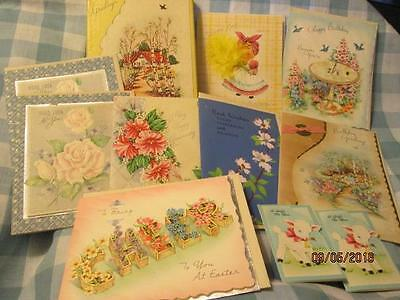 11 Vintage Greeting Cards UNUSED Anniversary GOOD LUCK Birthday GET WELL Easter