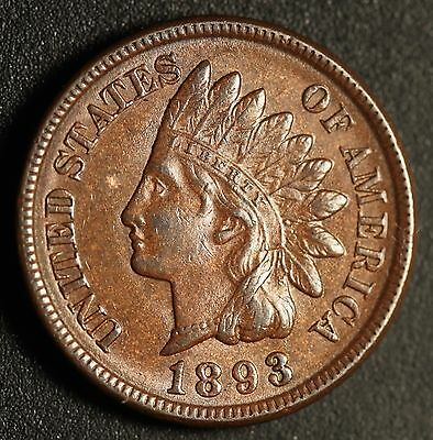 1893 INDIAN HEAD CENT - With LIBERTY & Near 4 DIAMONDS - AU UNC