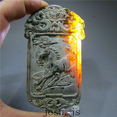 Chinese antique natural old hard jade jadeite hand-carved pendant necklace 10068