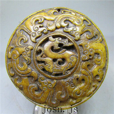 Chinese antique natural old hard jade jadeite hand-carved pendant necklace 10061