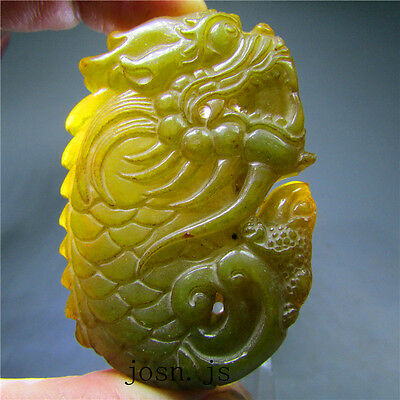 Chinese Antique natural hard jade jadeite hand-carved pendant necklace dragonAAA