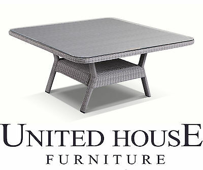 Grey Outdoor Wicker 1.5m Square Glass Top Dining Table Rattan Garden Furniture