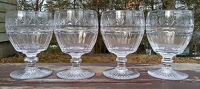 EARLY ANTIQUE CUT GLASS GEORGIAN RUMMERS GOBLETS - RARE SET of FOUR