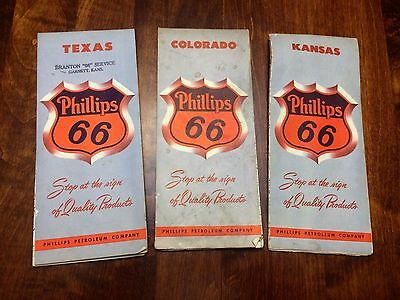 1950's Colorado, Texas & Kansas Phillips 66 Road Map . Texas Is Near MINT!