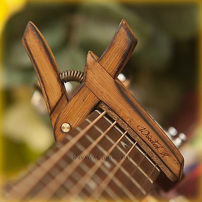 Flamed Bamboo Capo ~ Wooden Guitar Capo with Adjustable Spring Tension