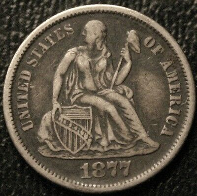 1877-S Seated Liberty Dime 10C Silver Coin