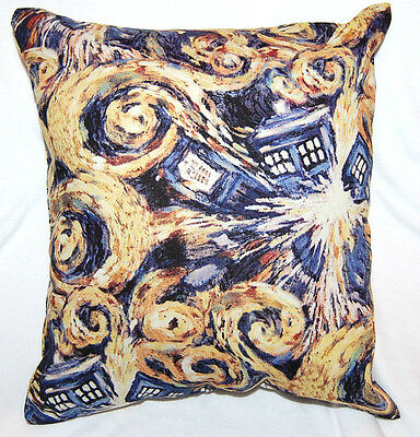 New Handmade Bbc Doctor Who Exploding Tardis Van Gogh Travel/ Cuddle Pillow