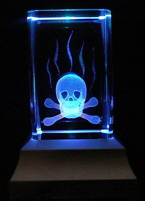 Skull and Crossbone Laser Inscribed Crystal LED Night Light Gift OTH03