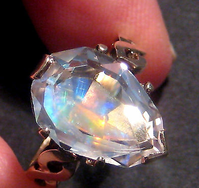 Beautiful Faceted Australian Opal & 9ct Gold Ring