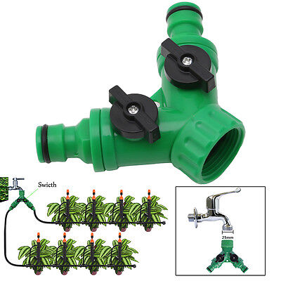 """Garden 2 Way Adapter Y Tap Connector Fitting Switch Irrigation Hose Pipe G3 / 4"""""""