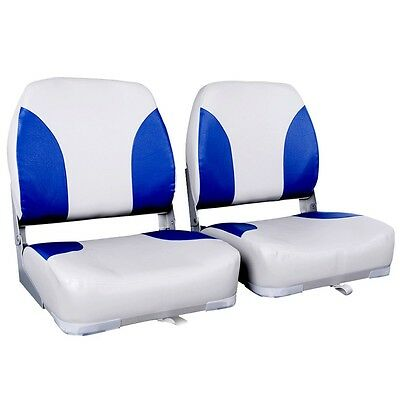 2 X Premium Folding Boat Seats Marine All Weather Swivels White Blue Set #T