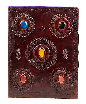 Vintage Handmade Leather Journal Stitched Travel Diary Travelers Notebook Stones