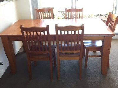 Dining table, solid timber, & 8 chairs