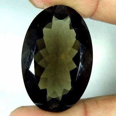 36.05Cts.100% NATURAL GORGEOUS!! SMOKY QUARTZ OVAL CUT LOOSE GEMSTONE