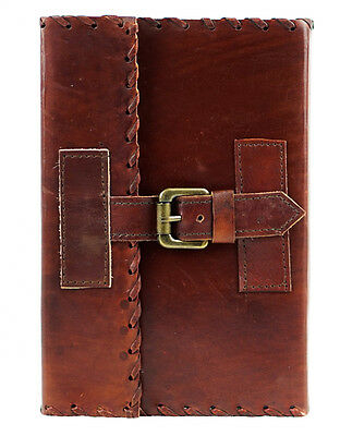 Vintage Handmade Leather Journal Stitched Travel Diary Travelers Notebook Stone