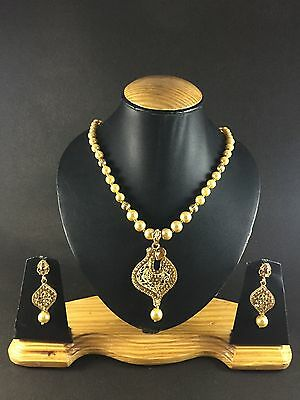 Indian Gold Plated Traditional Necklace Pendant Set Ethnic Women Fashion Jewelry