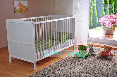 White Solid Wood Baby Cot Bed & Deluxe Foam Mattress Converts to Junior Bed a