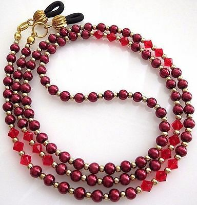 Red Pearl Crystal Sunglasses Reading Glasses Specs Eyeglass Holder Chain Cord