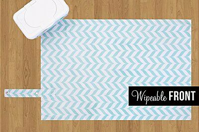 Diaper Changing Pad Waterproof Wipeable & Washable Quilted Padding BLUE CHEVRON