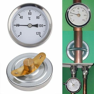 63mm Dial Pipe Thermometer Clip-on Temperature Gauge 0-120 BH