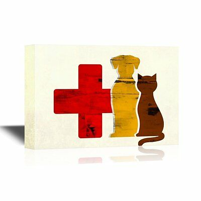 wall26 - Vet Canvas Wall Art - Dog and Cat Vet Concept - Ready to Hang - 16x24