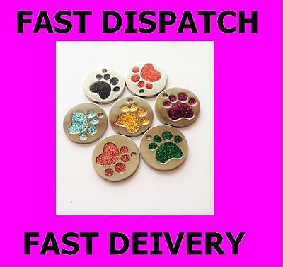 Dog Cat Pet Tag ID Collar Tags Personalised Engraved Glitter Paw Disc Identity