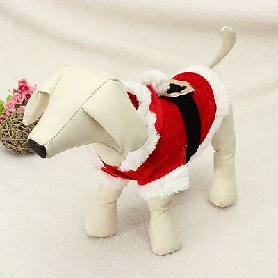XS - Pet Puppy Dog Christmas Santa Claus Costume Clothes Hoodie Outfit Outwear