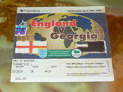 Ticket 1997 World Cup Qualifier - ENGLAND v. GEORGIA (at Wembley Stadium)