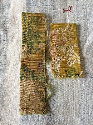 18 th century silk brocade  fragment. 2 Small Pieces
