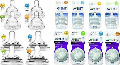 2 x Philips Avent Baby Natural Teats & Classic+ Teat Flow Dummy For Milk Bottle