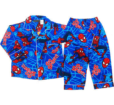 NEW Sz 2~8 KIDS PYJAMAS SPIDERMAN BOY WINTER FLANNELETTE SLEEPWEAR PJS TOP SHIRT