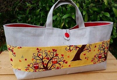 REDUCED! Extra Large Knitting Bag, Double Pocket with Owl Design, Red Lining
