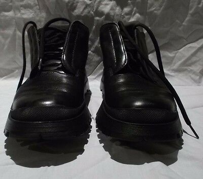 Prada Men's Black Leather  Hiking Trail Boots Size 8