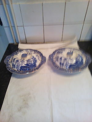 Pair  Of  Burleigh  Ware  Willow  Pattern  Tureens