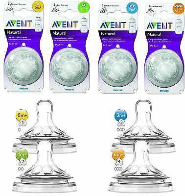 2 x Philips Avent Natural Teats For Baby Milk Bottle Teat Slow Medium Fast Flow