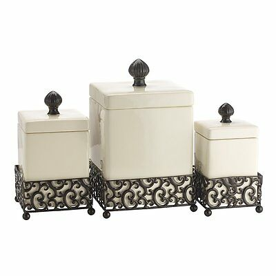Home Essentials 69461 Pressed Metal Danbury Square Canister, Set of 3