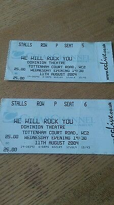 We Will Rock You ticket stubs 2004 - Dominion Theatre.