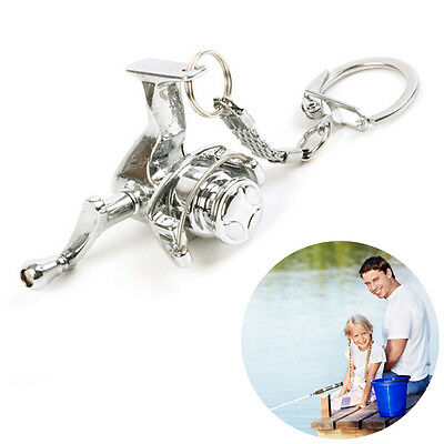 Fishing Spinning Reel Key Chain Stainless Steel Silver Key Rings 1 Pcs 6B6