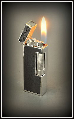 DUNHILL 'Sidecar' Lighter Black Leather with Palladium - Boxed -  Mint Condition